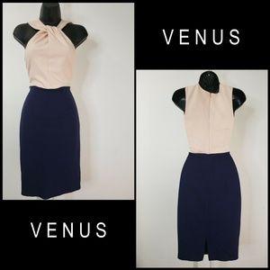 Venus Woman Twist Front Dress Size 2 Blue
